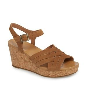 UGG Australia UMA Chesnut Suede Cork Wedge Sandals
